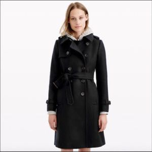 J. Crew Wool Cashmere Nello Gori Black Coat Sz 000